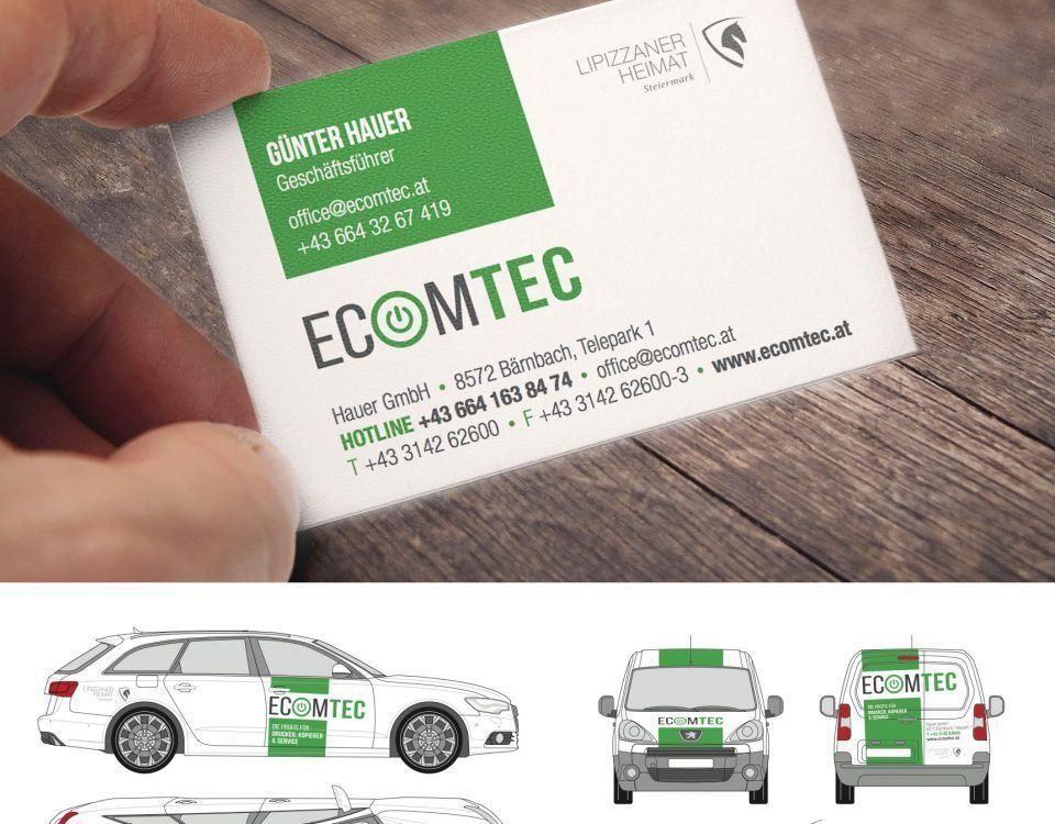 Referenz Ecomtec aus Bärnbach, neues Corporate Design, Visitenkarte, Autobeschriftung, ...